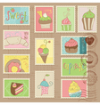 Desserts postage stamps vector
