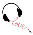 Black headphones with red cord in shape love vector