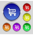 Shopping cart sign icon online buying button set vector