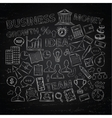 Doodle business icons on chalk blackboard vector