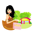 Fashion shopping girl with shopping bags vector