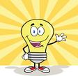 Friendly light bulb cartoon vector