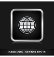 Globe map world icon silver metal vector