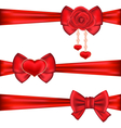Set red gift bows ribbons with rose and heart vector