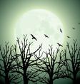 Big moon trees and birds vector