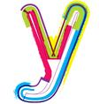 Colorful grunge font letter y vector