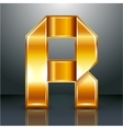 Letter metal gold ribbon - r vector