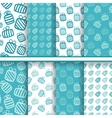 Set of seamless blue patterns with gifts vector