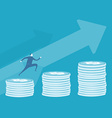 Business man run ovet that stack coins vector
