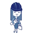 Architect with blueprints and briefcase vector