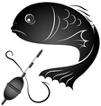 Fish and fishing gear vector