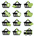 Ecommerce shopping basket flat icons set 2 vector