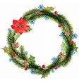 Green watercolor christmas wreath with decorations vector