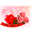 Valentines day background three red roses with two vector