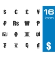 Black currency symbols set vector