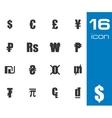 Black currency symbols set vector