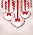 Set card heart shaped with silk ribbon bows and vector