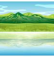 A mountain across the lake vector
