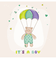 Baby bear on a horse - baby shower or arrival card vector