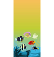 Background with color fishes vector