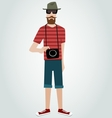 Hipster with camera and beard vector