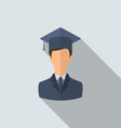 Flat icon of male graduate in graduation hat vector