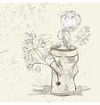 Crumpled jar with flower vector