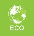 Green eco and globe design vector