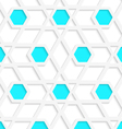 White geometrical detailed with blue hexagons gray vector