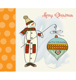 Snowman with big christmas ball vector