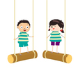 Two kidsl swinging on swings vector
