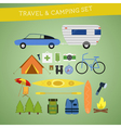 Bright cartoon travel and camping equipment icon vector