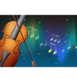 A violin and its bow with musical notes vector