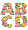 Alphabet of flowers abcd vector