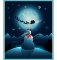 Christmas winter snowman background greeting card vector