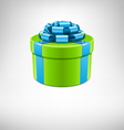 Green gift box with blue bow vector