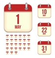 May calendar icons vector