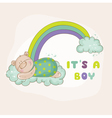 Baby bear on a rainbow - baby shower card vector