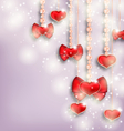 Glowing background with hanging hearts for vector