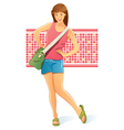 Traveling girl with bag vector