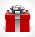 Red gift box with gray ribbon vector