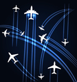 Airplanes trajectories background vector