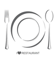 Restaurant 1 plate fork spoon vector