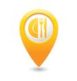 Restaurant icon map pointer yellow vector