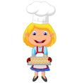 Little girl cartoon baking vector