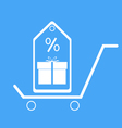 Shopping trolley with gift box vector