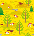 Seamless background with orange autumn mushrooms vector