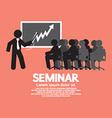 Speaker with audiences in seminar vector