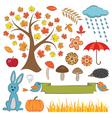 Colorful autumn set vector