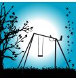 Tree silhouette swing on meadow vector